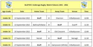 Underage Fixtures September 2015